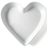 Omniware White Porcelain Heart Dish, 9.5 Inch
