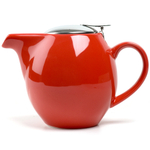 OmniWare Teaz Red Stoneware Lillkin 40 Ounce Teapot with Stainless Steel Mesh Infuser