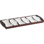 Trudeau Manhattan White Ceramic 6 Piece Appetizer Set with Rubberwood Tray