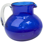 Artland Iris Cobalt Blue Seeded Glass Pitcher, 90 Ounce