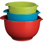 Trudeau Nesting 3 Piece Green, Blue, and Red Melamine Mixing Bowl Set