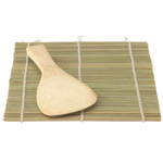 Helen Chen's Asian Kitchen Traditional Bamboo Sushi Mat and Wide Paddle