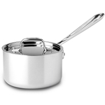 All-Clad D5 Brushed 18/10 Stainless Steel Saucepan with Lid, 1.5 Quart