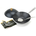 Typhoon Pre Seasoned 6 Piece Carbon Steel Wok Set, 12 Inch