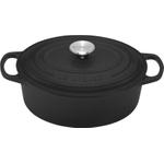 Le Creuset Signature Matte Black Enameled Cast Iron Oval French Oven, 1 Quart