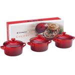 Le Creuset Cherry Stoneware Mini Cocotte, Set of 3