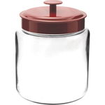 Anchor Hocking Glass Mini Modern Montana Jar with Red Metal Cover, 96 Ounce
