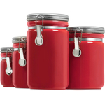 Anchor Hocking 4 Piece Red Ceramic Clamp Top Canister Set