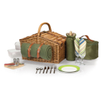 Picnic Time Sage Green Somerset English-Style Picnic Basket