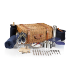 Picnic Time Navy With Plaid Windsor Traditional English-Style Picnic Basket