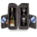 Picnic Time Estate Deluxe Black and Gray Wine Tote with Blue Striped Accents