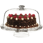 Luigi Bormioli Gallerie 4-in-1 Pedestal Glass Cake Plate with Dome