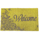 Green and Purple Welcome Hand Woven Coir Non-Slip Doormat, 17 x 28 Inch
