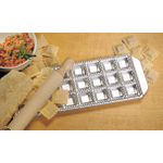CucinaPro Imperia Raviolamp Steel Mini Square Ravioli Maker and Wooden Rolling Pin, 24 Square