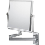 Mirror Image Chrome Double-Sided Pivot Arm 3x Magnifying Square Wall Mirror