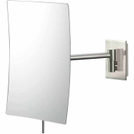 Mirror Image Brushed Nickel Rectangular Minimalist 3x Magnifying Wall Mirror