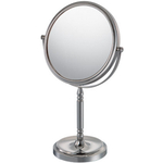 Mirror Image Chrome Double-Sided Round Recessed Base 5x Magnifying Vanity Mirror