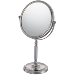 Mirror Image Brushed Nickel Double-Sided Round Recessed Base 5x Magnifying Vanity Mirror
