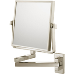 Mirror Image Brushed Nickel Double-Sided Pivot Arm 3x Magnifying Square Wall Mirror