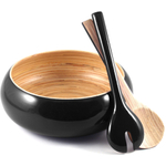 Core Bamboo 3-Piece Onyx Shallow Bowl and Servers Set
