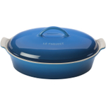 Le Creuset Heritage Marseille Blue Stoneware Covered Oval Casserole Dish, 4 Quart