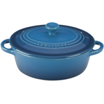Le Creuset Marseille Blue Stoneware Oval Mini Cocotte, 12 Ounce