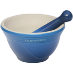 Le Creuset Stoneware Marseille Blue Mortar and Pestle Set, 20 Ounce