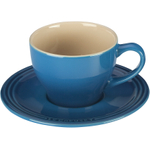 Le Creuset Marseille Blue Stoneware Cappuccino Cup and Saucer Set, Service for 2