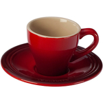 Le Creuset Cherry Stoneware Espresso Cup and Saucer Set, Service for 2