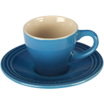 Le Creuset Marseille Blue Stoneware Espresso Cup and Saucer Set, Service for 2