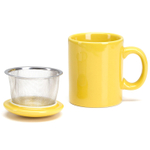 Omniware Yellow Ceramic Infuser Tea Mug with Lid