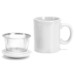 Omniware White Ceramic Infuser Tea Mug with Lid
