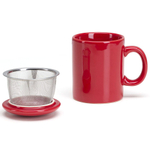 Omniware Simply Red Ceramic Infuser Tea Mug with Lid