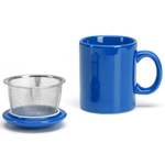 Omniware Simply Blue Ceramic Infuser Tea Mug with Lid
