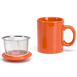 Omniware Orange Ceramic Infuser Tea Mug with Lid