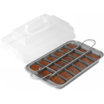 Chicago Metallic Silver-Tone Slice Solutions Brownie Pan, 11x7 Inch