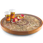 Wine Enthusiast Mahogany Wine Cork Lazy Susan Kit