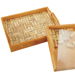 Wine Enthusiast Mahogany Wine Cork Serving Tray Kit