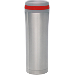 Chantal Stainless Steel Travel Mug with Red Silicone Band, 15 Ounce