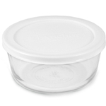 Anchor Hocking Round Glass 1 Cup Storage Container with White Plastic Lid, Set of 4