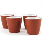Brick Red Yixing Clay Asian-Style Tea Mug, Set of 4