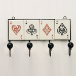 Four of a Kind Ace Playing Cards Tile Wall Rack, 4 Hooks