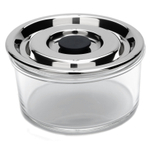 Onyx Small Round Airtight Glass Container with 18/8 Stainless Steel Lid