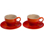 Le Creuset Flame Stoneware Cappuccino Cup and Saucer Set, Service for 2