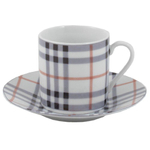 Classic Plaid 12 Piece Porcelain Espresso Demitasse Set