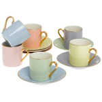ClassicCoffee&Tea 2.5 Ounce Solid Pastel Cup and Saucer Set, Service for 6