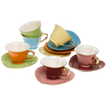 ClassicCoffee&Tea Inside Out Heart Multicolored 5 Ounce Cup and Saucer Set with Gold Accents, Service for 6
