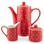 ClassicCoffee&Tea Red Porcelain Polka Dot Tea and Coffee Service Set