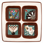 Ceramic Square Lounge Games Sectioned Serving Platter