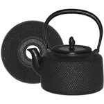 Black Hobnail Cast Iron Tea Kettle with Trivet, 50 Ounce